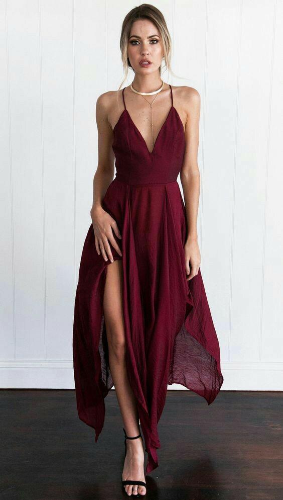 Como Vestir El Color Vino Siemprechik Vestidos Largos