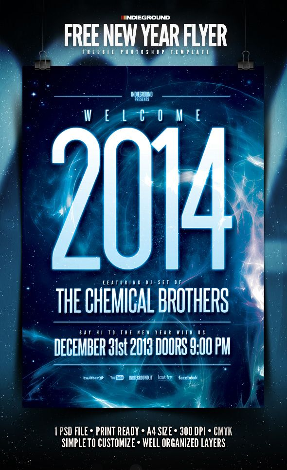 New Year Flyer Template PSD 1 #newyear2014 #psdflyers - new year brochure template