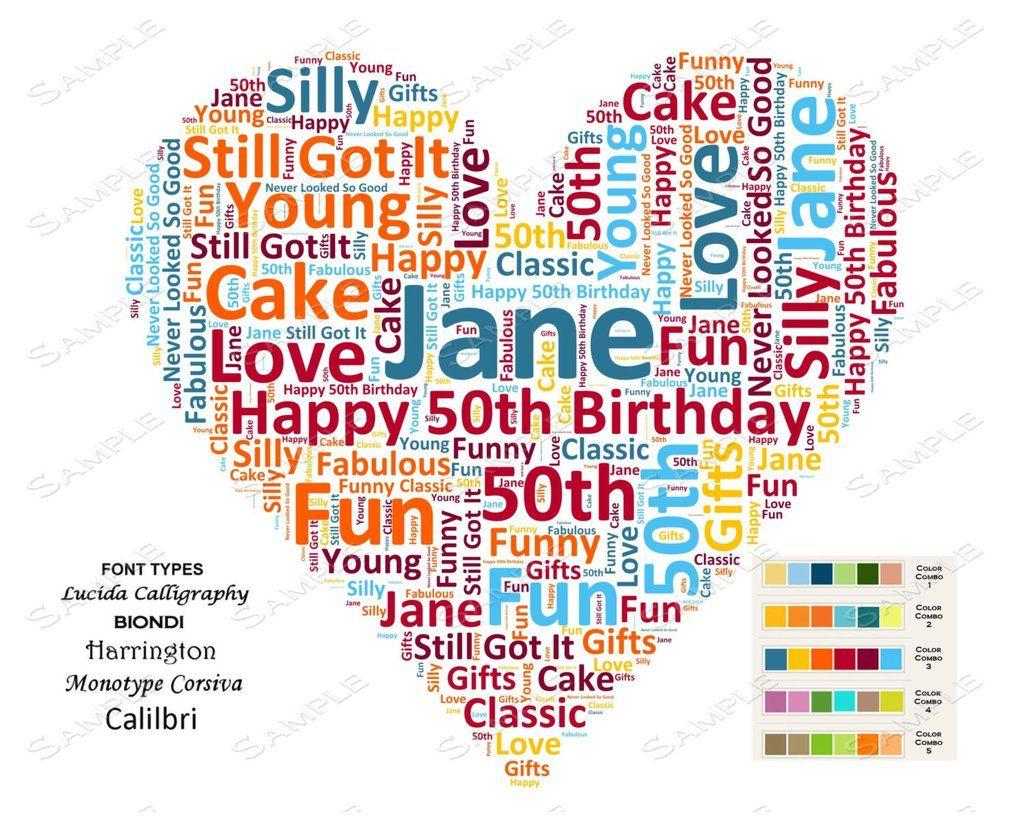 Custom 50th Birthday Gift Heart Word Art 8 X 10 Print Unique Fifty Idea