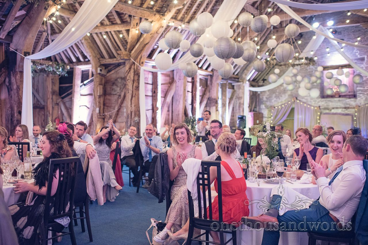 Wedding Guests During Speeches At Stockbridge Farm Barn Venue In Dorset Photography By One