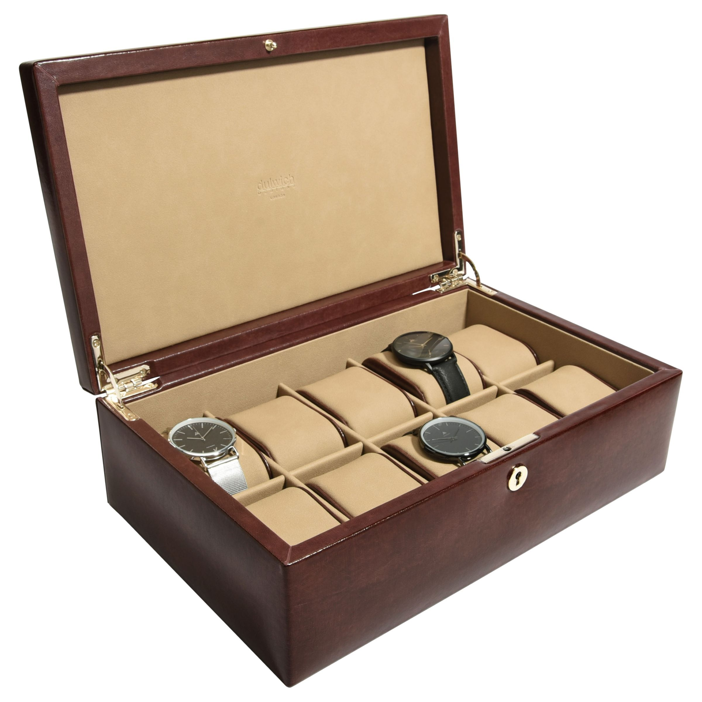 Dulwich Designs Windsor Leather 10 Piece Watch Box Brown Jewellery Boxes Leather Design
