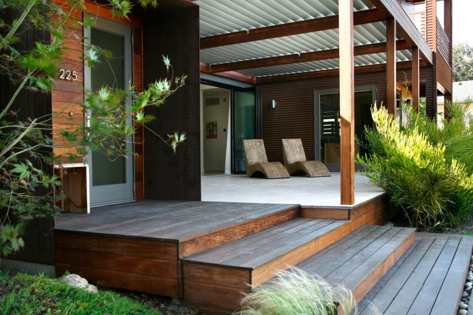 Asian Front Entry And Porch Modern Front Porches Modern Porch Modern Prefab Homes