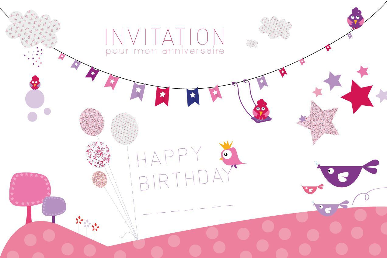 carte d invitation anniversaire fille 7 ans anni. Black Bedroom Furniture Sets. Home Design Ideas