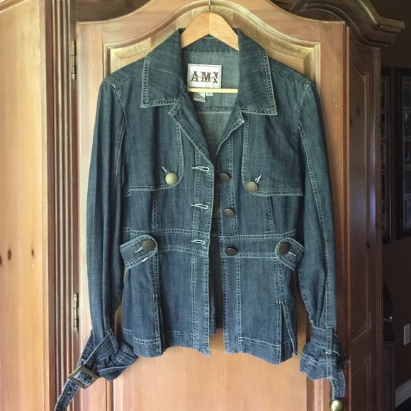 Anthro Denim Jacket Denim jacket with three buttons down the front. The arms have a buckle and tie. Great condition Anthropologie Jackets & Coats Jean Jackets