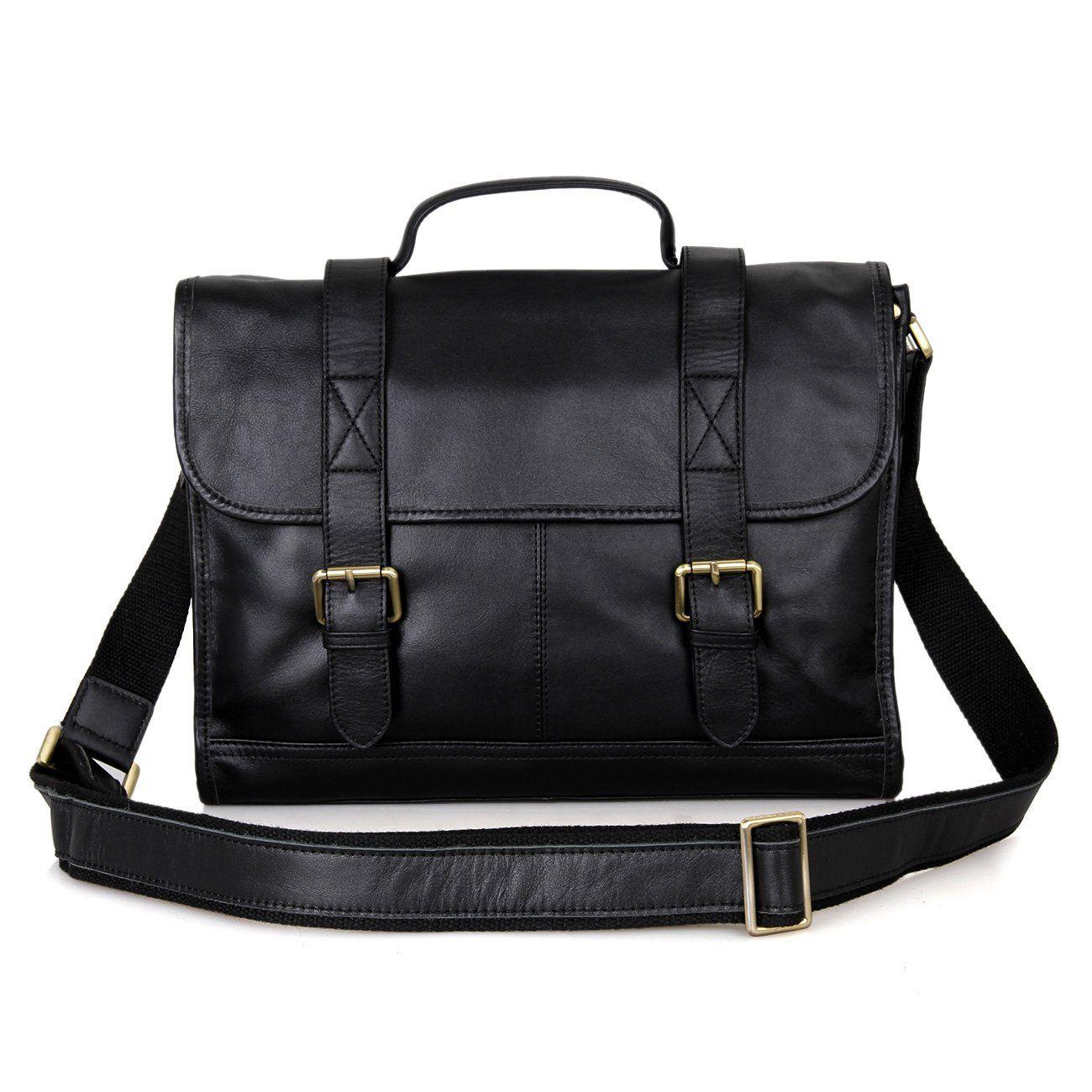 Leather Messenger Bag, Clean Vintage Satchel Briefcase Tablet Laptop Case Bag for Women Men