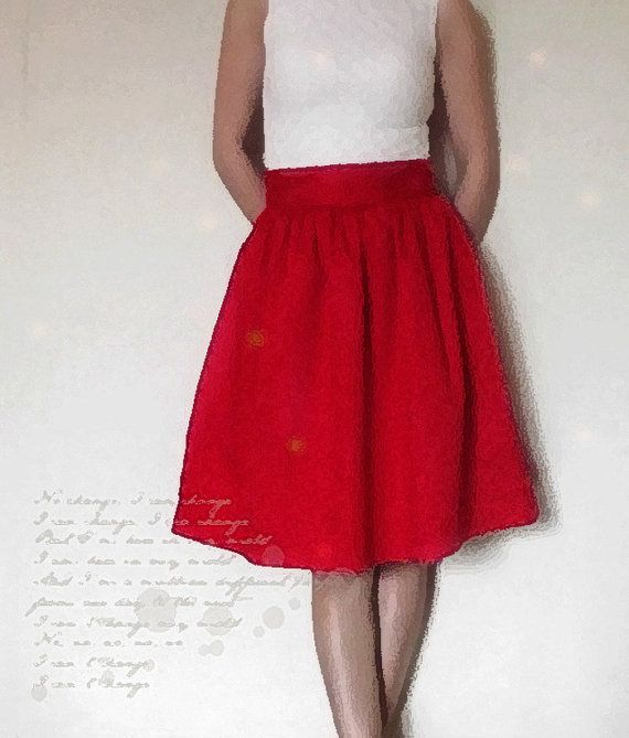 0180e323d4 Cotton fully lined gathered skirt with pockets - custom size mini ...