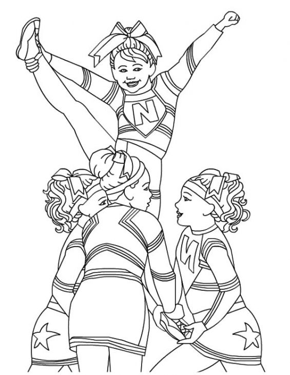 Cheerleader perform great stunt coloring page for