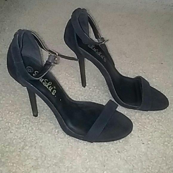 Lulus Black Ankle strap heels Suede w/ gold hardware. Lulu's Shoes Heels