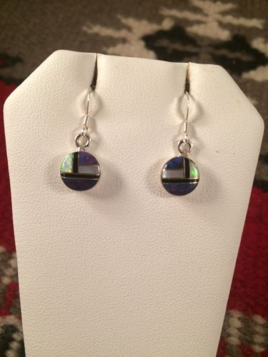 Zuni Sterling Silver And Multi Stone Inlay Dangle Earrings Signed