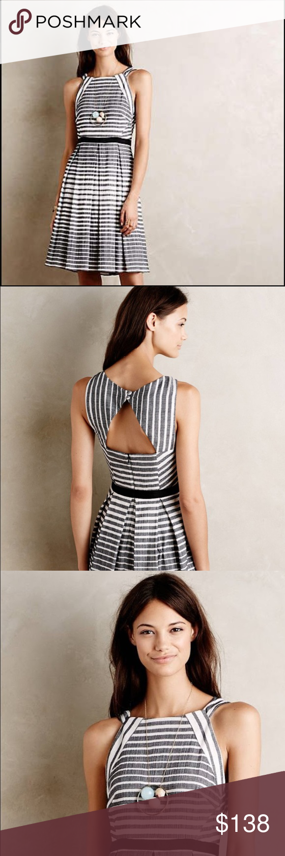 Anthropologie Eva Franco Saybrook Stripe Dress Business in the front and part in the back with this spectacular striped cutout! True to Eva Franco's alluring and flattering designs; this dress dons a high collar and a cute cutout in the back. With heavier cotton material and fully lined, this dress is perfectly on point for Fall. Dazzle at work or play. Button enclosure in back, with a back zipper. Worn once. Anthropologie Dresses Midi