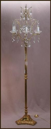 Vintage French Gilt Bronze Beaded Crystal Chandelier Floor Lamp Candelabra