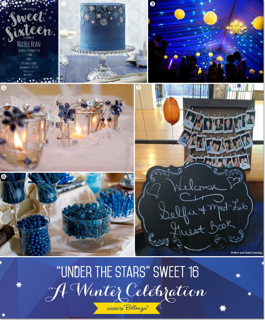 under the stars sweet 16 winter party theme bal de promo lits et id e. Black Bedroom Furniture Sets. Home Design Ideas