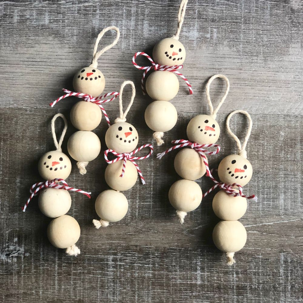 Wood Bead Snowman Ornaments
