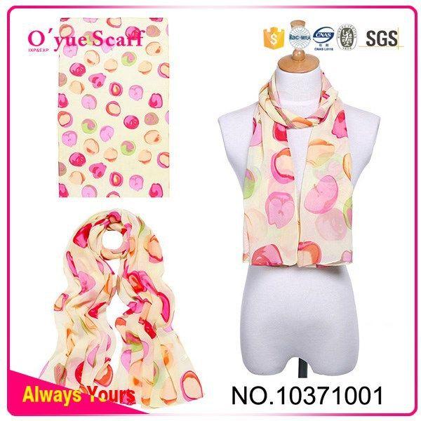 Lovely Apple Printing Chiffon Lady Fashion Scarf