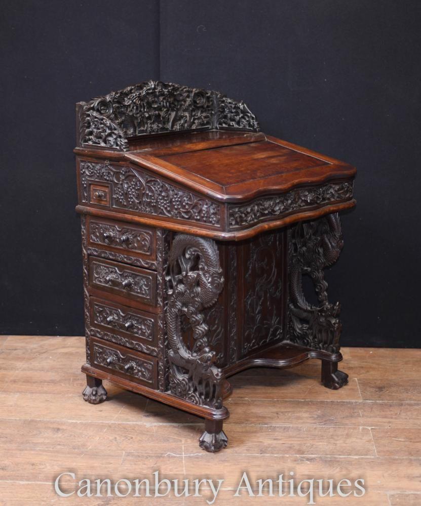 Rare Antique Chinese Davenport Desk Hand Carved Hardwood 1860 - Rare Antique Chinese Davenport Desk Hand Carved Hardwood 1860