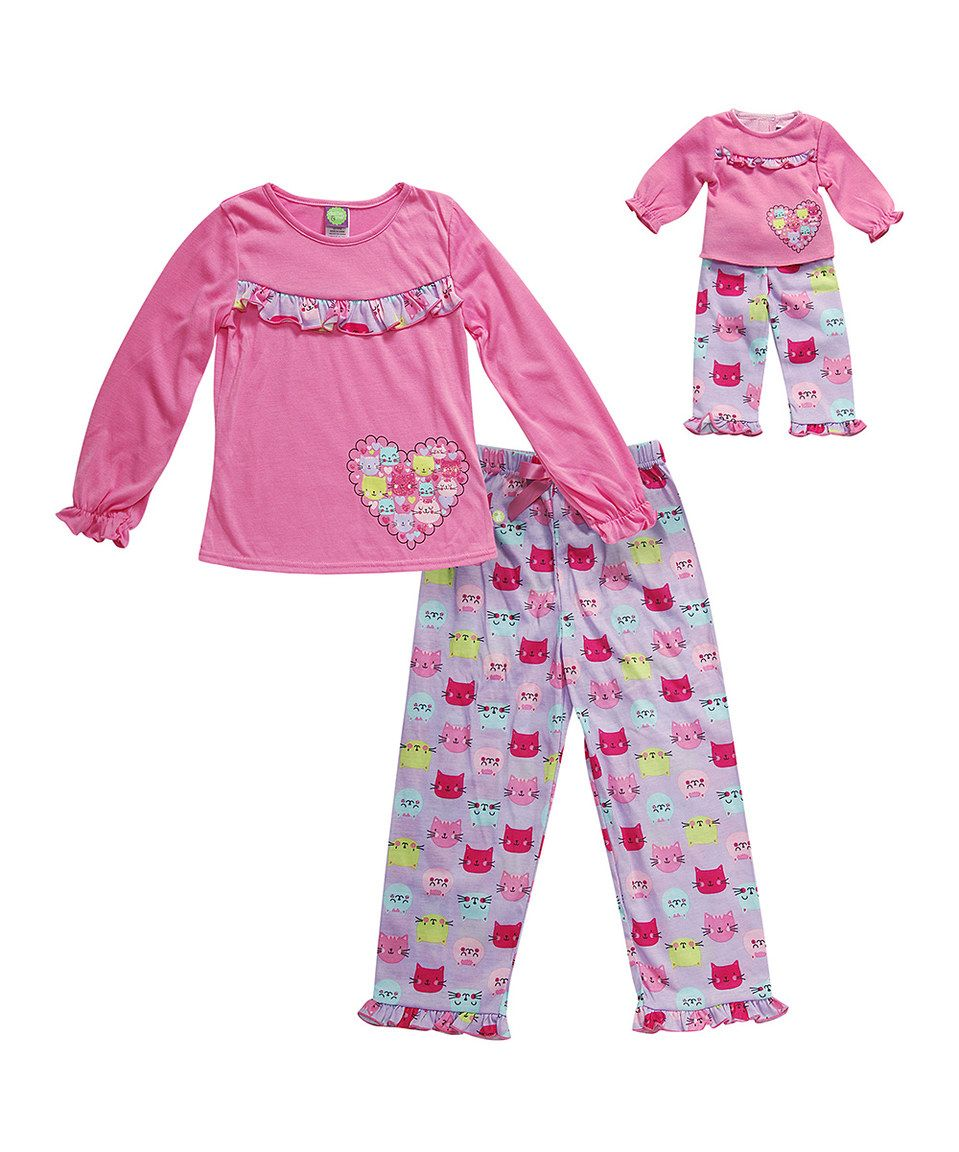 This Pink & Purple Cat Pajama Set & Doll Outfit - Kids & Tween by Dollie & Me is perfect! #zulilyfinds