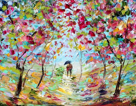 Historia De Amor De Primavera Pintura Impresionismo De Pintura Abstracta Pintura De Lluvia Produccion Artistica