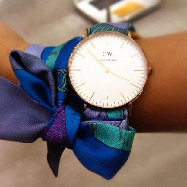 Love this idea- Wellington watch with an Hermès scarf as a strap bracelet