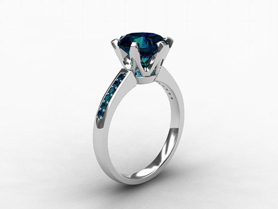 2 50ct London Blue Topaz Ring Teal Diamond White Gold Engagement