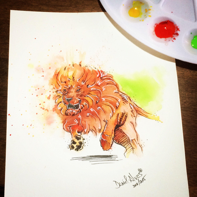 Leão / lion Watercolor Art By @dn_alves    Daniel R Alves São Paulo/BR
