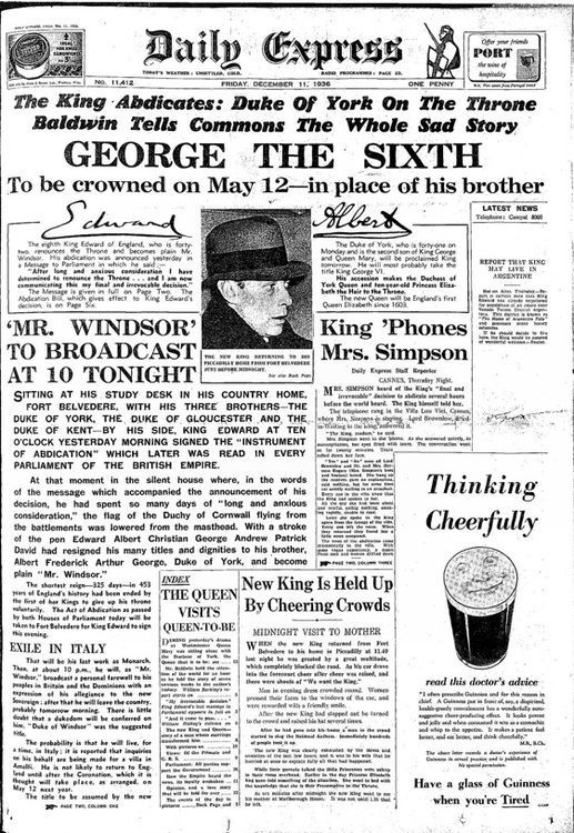 MI5 tapped the King's phones in Abdication Vintage
