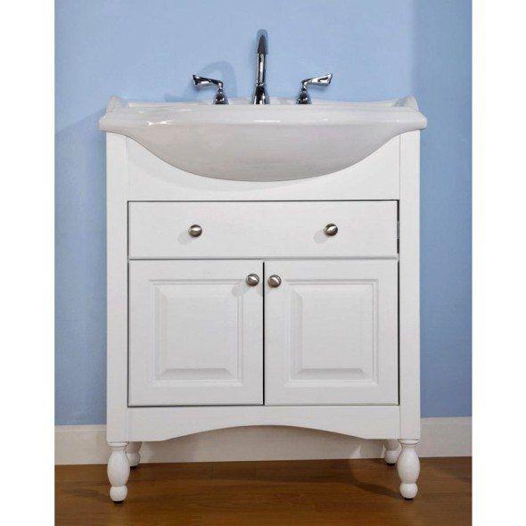 White Narrow Depth Bathroom Vanity