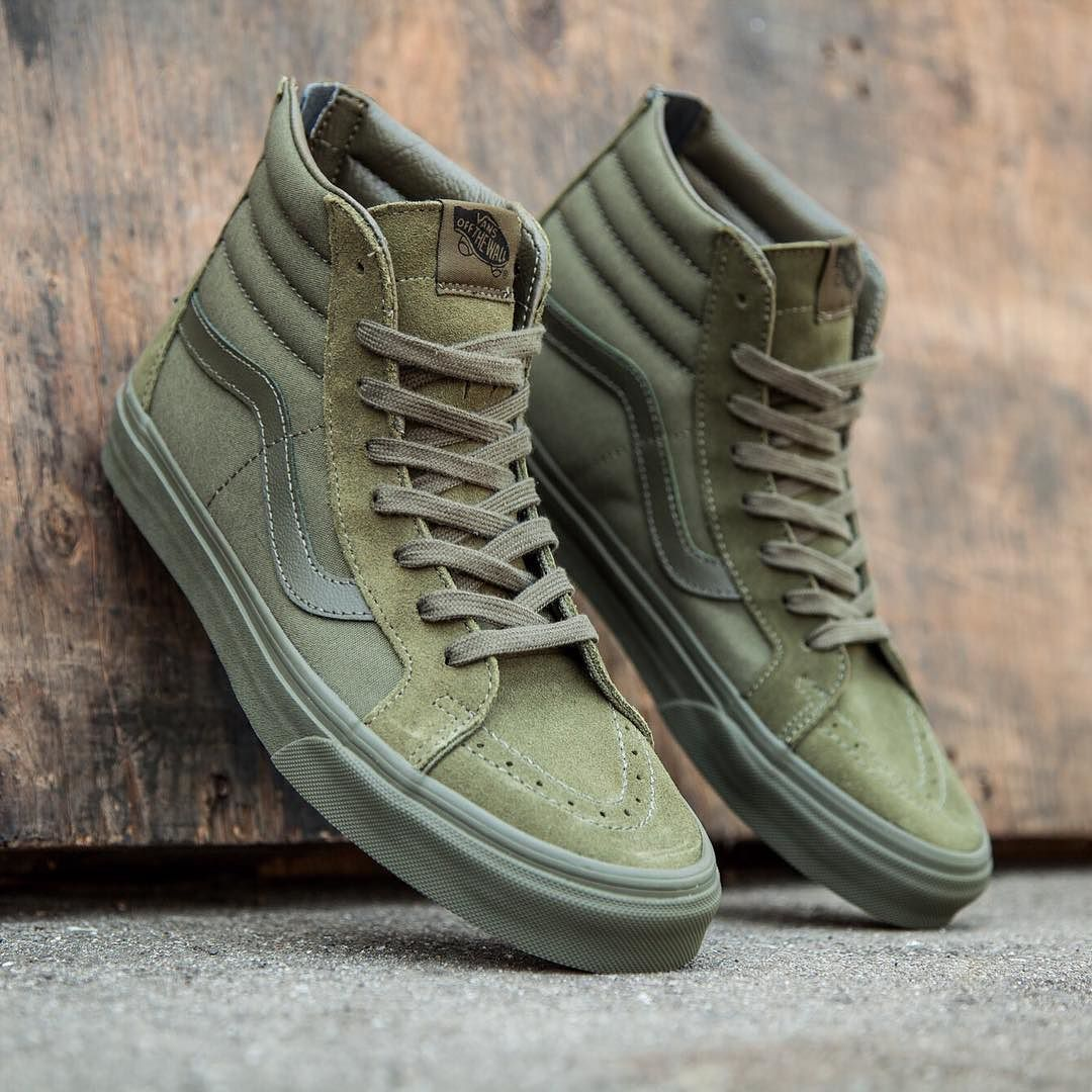 Vans Men's Sk8-Hi Reissue Zip - Mono in green and ivy is available in sizes 8-13 for $80. Visit us at BAITme.com/footwear to purchase. #vans #vanssk8hi #baitme #bait by baitme