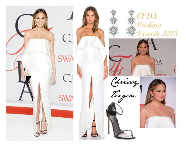 """Chrissy Teigen Red Carpet CFDA Fashion Awards 2015"" by valensmilerstyle ❤ liked on Polyvore"