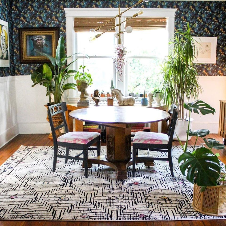 You Simply Won T Find A Design More Lovely Than This Delightful Dining Space By Katepearcevintage F Rugs In Living Room Living Room Area Rugs Faux Brick Walls