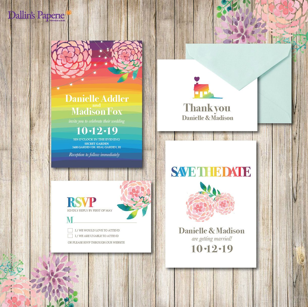 Rainbow Wedding Invitation Printables