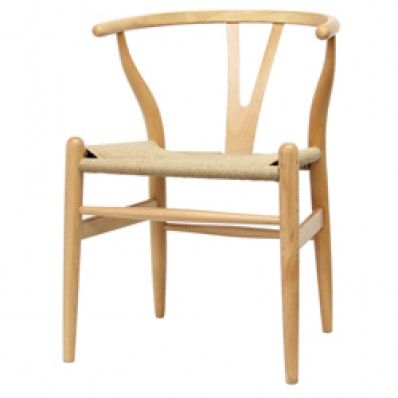 Tan Modern Beech Wood Curved-back Dining Room Chair with Hemp Seat ...