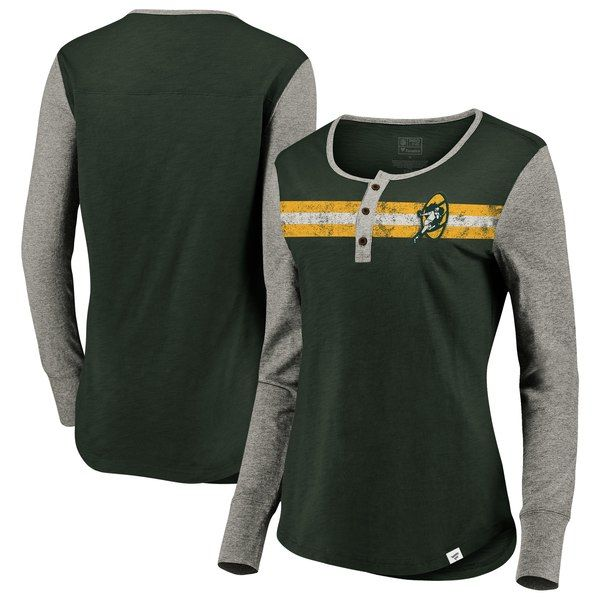 1ff0ccff Green Bay Packers NFL Pro Line by Fanatics Branded Women's True Classics  Retro Stripe Henley T