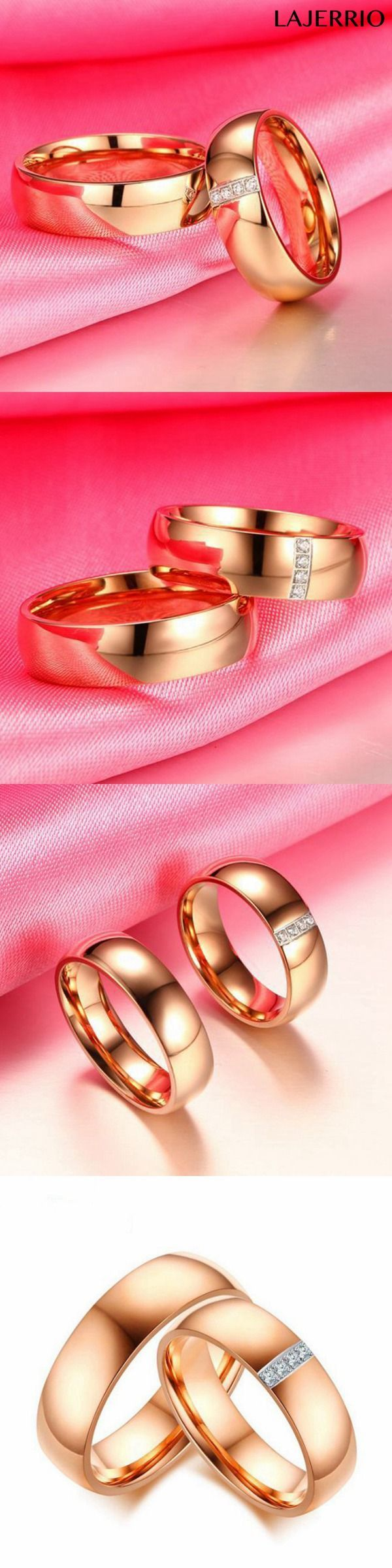 Titanium Steel Rose Gold White Sapphire Promise Rings for Couples ...