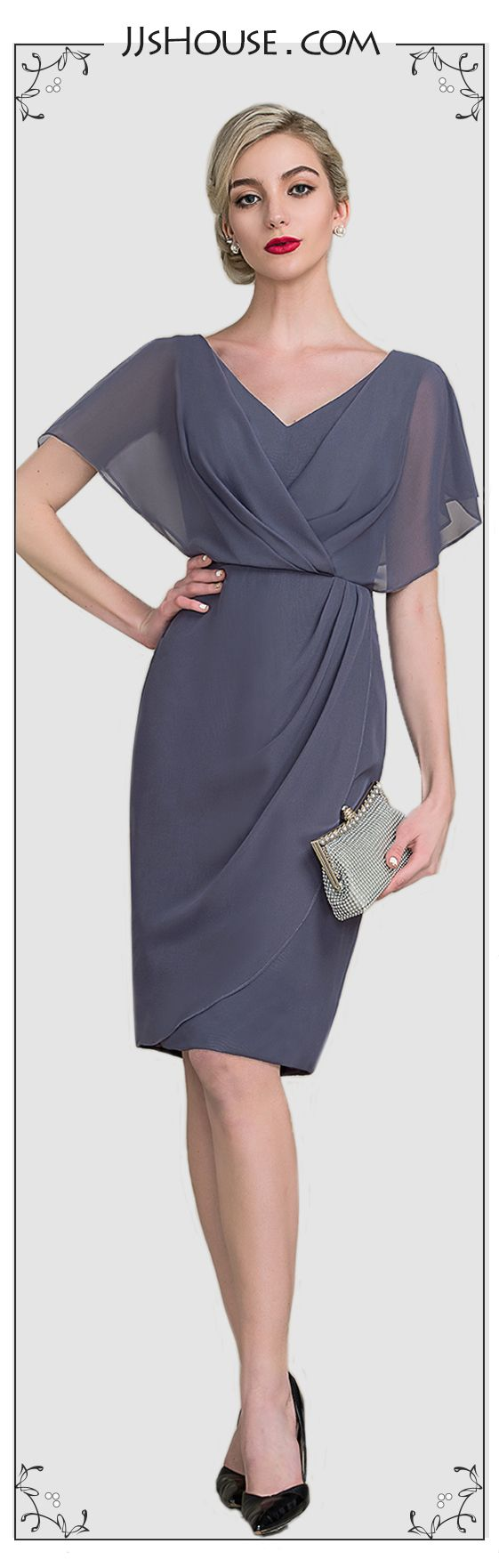 Sheath/Column V-neck Knee-Length Chiffon Mother of the Bride Dress ...