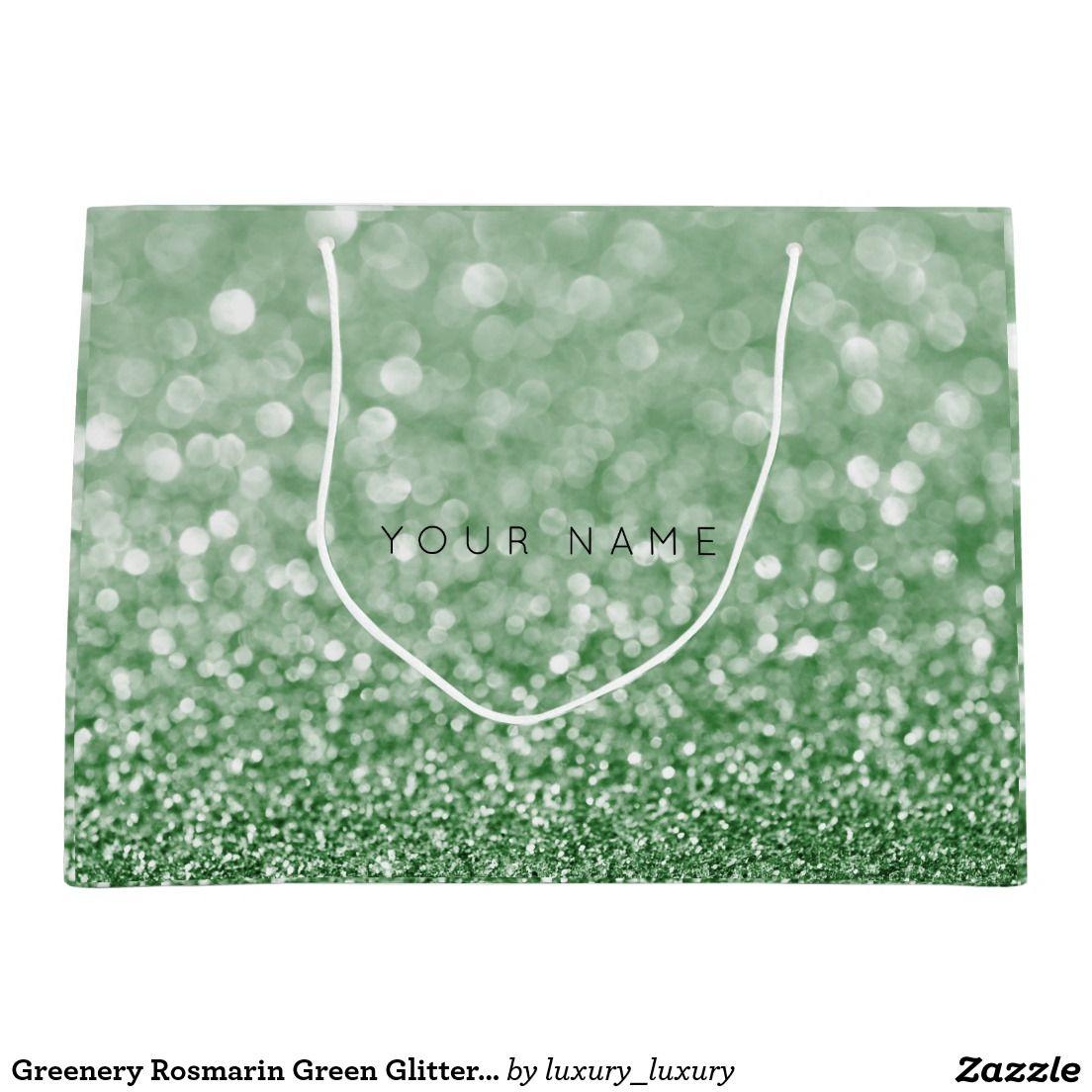 Greenery Rosmarin Green Glitter Favor Gift Bag