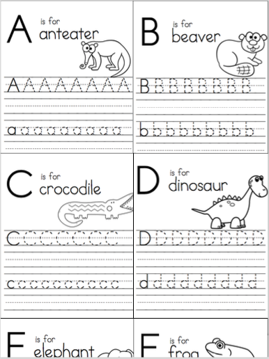 Animal Alphabet Letter Writing Practice Madebyteachers Letter Writing Practice Alphabet Writing Practice Writing Practice