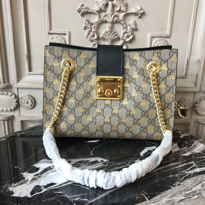 078817a71288 Gucci Padlock Small GG Bees Shoulder Bag 498156