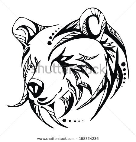 5241b9039 bear tribal drawing - Google Search | Tattoos | Tribal bear tattoo ...