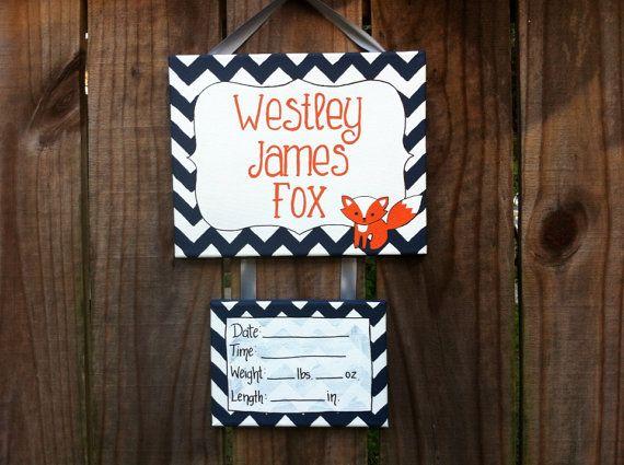 Fox baby hospital door decoration, nursery, bedroom door sign, door