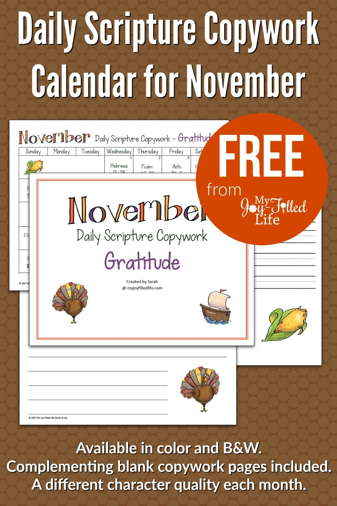 Daily Scripture Copywork Calendar For November