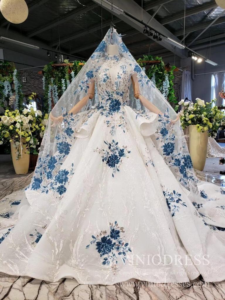 Luxury Vintage Blue Floral Wedding Dresses With Veil Fd1919 Wedding Dress With Veil Flowery Wedding Dress Wedding Veil Vintage [ 1024 x 768 Pixel ]
