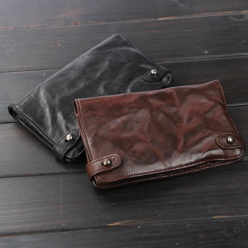 Photo of Handmade Leather Mens Slim Wallet Cool Leather Wallet Long P…