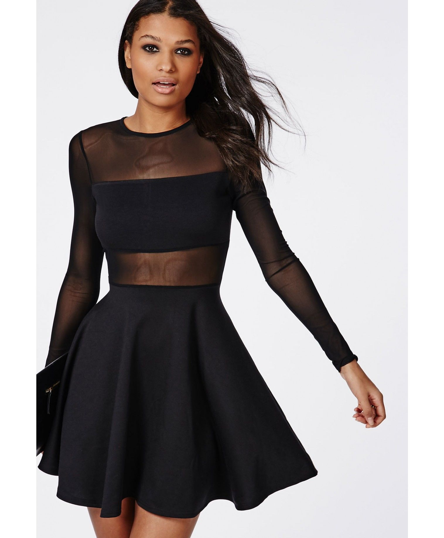 mesh insert long sleeve skater dress black robe patineuse tulle et manches longues. Black Bedroom Furniture Sets. Home Design Ideas