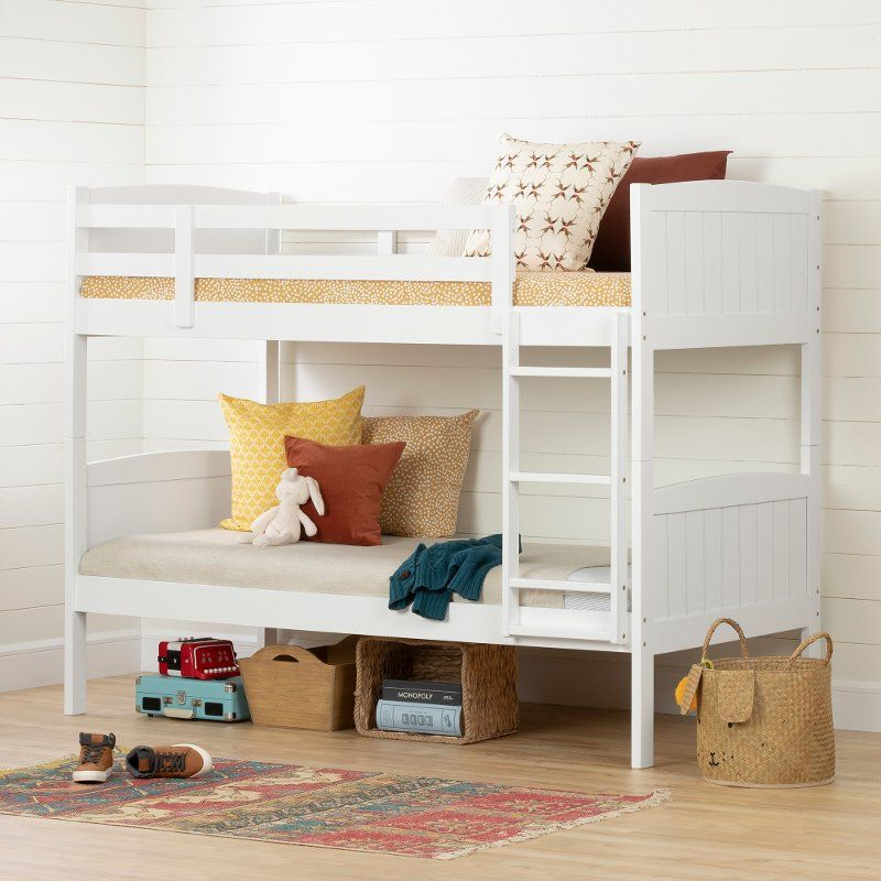 Cottage White Twin Over Twin Bunk Bed Savannah Bunk Beds Solid Wood Bunk Beds Bunk Bed With Trundle