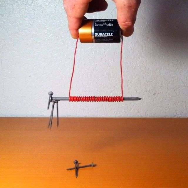 DIY Electromagnet: iron core (nail), wire, and DC source (D