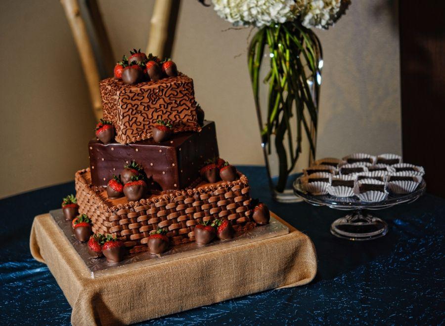 Chocolate Strawberry Square Groom's Cake. Wedding At Hurst