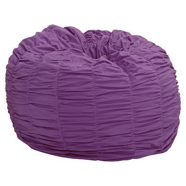 Rouched Beanbag Slipcover Large Solid Purple Furniture