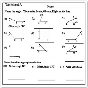 Type Of Angles Acute Right And Obtuse Angles Worksheets In 2021 Angles Worksheet Geometry Worksheets Worksheets 4th grade math worksheets angles