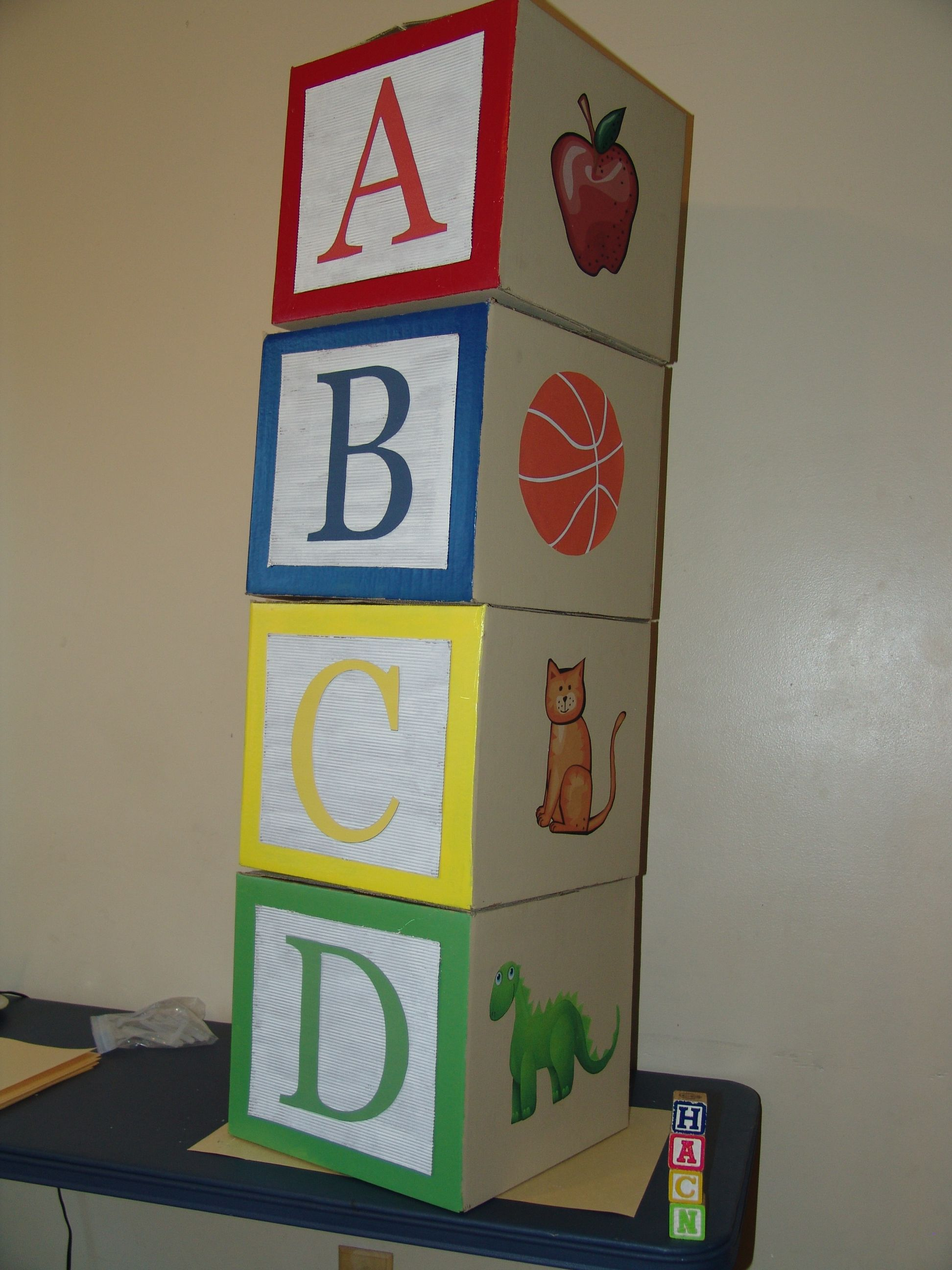 Giant ABC Blocks Made from 12 x 12 cardboard boxes. | Kupuna's