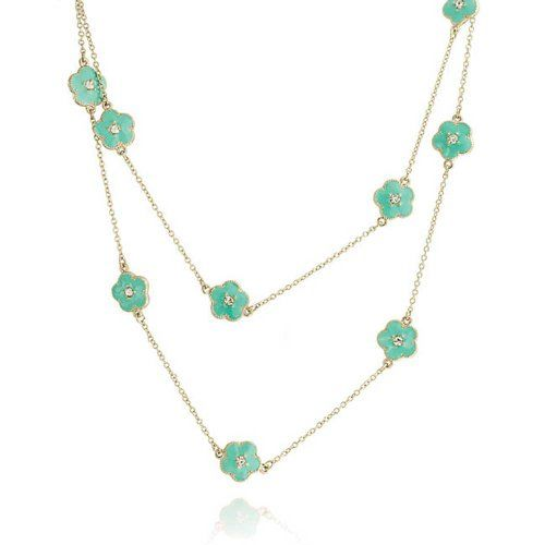 Bling Jewelry Gold Plated Crystal Blue Enamel Clover Flow...
